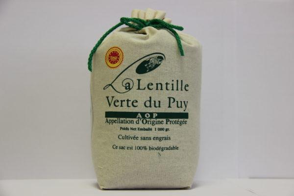 Lentilles vertes du Puy - sac toile de jute 1 Kg